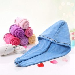 Quick Dry Hair Towel Magic Shower Caps Microfiber Super Absorbent Drying Turban Head Wrap Spa Salon Bathroom Caps Bath Hat Wrap Caps C7287 on Sale