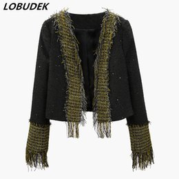 4ed27c68851c Autumn Winter Women Gold Fringe Black Sequins Jacket Fashion Slim Short Coat  European Style High-end luxury Coats Female Clothes