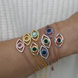Silver Evil Eye Bracelets Australia - 2019 New Fashion Gold sliver color Blue\green\yellow Evil Eye Bracelet Charm lucky gift For Woman 925 silver rainbow CZ Jewelry