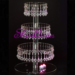 $enCountryForm.capitalKeyWord Australia - 4 layer round acrylic glass bead cupcake tower stand with hanging acrylic crystal bead-wedding party cake tower cake tree stand