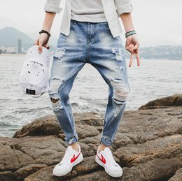 Overalls Motorcycles Australia - SSDesigner new hole mens jeans luxury classic Slim overalls 9 points trend pants street hip hop motorcycle riding pants bicycle travel jeans