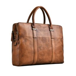 Wholesale genuine leather brown men cross section briefcase business casual male Tote handbag shoulder crossbody inch notebook Bag