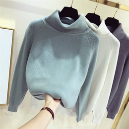 Wholesale cowl necked sweater resale online - GIGOGOU Thick Turtlneck Cowl Neck Women Sweater Streetwear Knitted Pullovers Top Autumn Winter Clothes Christmas Sweater Pull