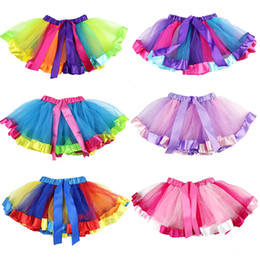 baby girl tutu dresses rainbow NZ - Girls Rainbow TUTU Skirt Girls Bubble Skirt Grenadine Short Dress Perform Dancing Dress Rainbow Color Unicorn Dresses Baby
