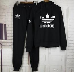 Toptan satış Kadınlar aktif set eşofman Hoodies Kazak + Pantolon Koşu Spor Eşofman 2 Parça koşu setleri survetement femme giysi