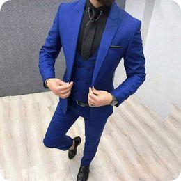 $enCountryForm.capitalKeyWord Australia - Royal Blue Men Suits for Wedding Man Suits Black Groom Tuxedos 3Piece Slim Fit Groom Wear Blazers Custom Made Costume Homme Evening Party
