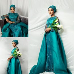 $enCountryForm.capitalKeyWord Australia - Peacock blue Muslim Prom Dresses 2019 With Detachable Train Mermaid Formal Evening Gowns Long Sleeves Beaded Pageant Party Dress Plus Size