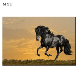 Run Horses Painting Australia - Cheap Wall Painting Animal spraying prints brown Horses Running HD printed Picture Home Decor for Living Room Oil Painting Unframed