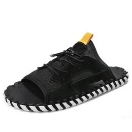 Men Heel Platform Shoes Australia - 2019 New Summer Trend Design Platform Men Shoes Flat Heels Mesh Breathable Mens Leisure Slippers Mans Corss-tied Outside Shoes