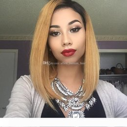two tone bob wigs Canada - Ombre Two Tone T1B 27 Brazilian Virgin Hair Bob Wigs 130% Density Full Lace Human Hair Wigs With Baby Hair Natural Hairline Glueless