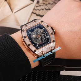 black color gold Australia - 19 Color Best Edition RM 055 Skeleton Black Dial Diamond Rose Gold Case Japan Miyota Automatic Mens Watch Black Rubber Strap Sport Watches