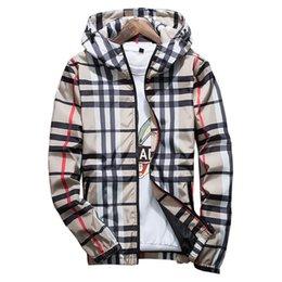 Long Windbreaker Jackets Australia - Fashion Plaid Jacket Men Casual Spring Autumn Slim Fit Zipper Mens Jackets Long Sleeve Homme Windbreaker Coat Male Outwear C190416