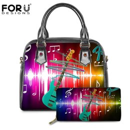 cooler handbags Australia - FORUDESIGNS Crossbody Bags for Women 3D Cool Guitar Pattern 2PCS Set Ladies Tote Shoulder Bags Handbags Woman PU Leather mochila