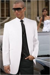 $enCountryForm.capitalKeyWord Australia - Custom Made New Arrival White Jacket Black Vest Pants Groom Tuxedos Groomsmen Mandarin Lapel Men Suits (Jacket+Pants+Tie+Waistcoat) G801