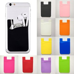 credit card pocket lights UK - Universal 3M Glue Silicone Wallet Credit Card Cash Pocket Sticker Adhesive Holder Pouch Mobile Phone For Iphone 11 Pro Max X XS XR