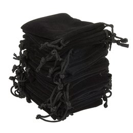 Pack Supplies Australia - Soft Velvet Pouches Drawstrings for Jewelry Gift Packaging Pack of 100 Pouch Bags for party wedding Supplies Black