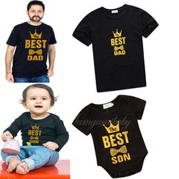 Short jumpSuit men online shopping - Infant Jumpsuits Man Coats Parent child Short Sleeve Letter Best Dad Baby Designer Crown Bow Solid Printed