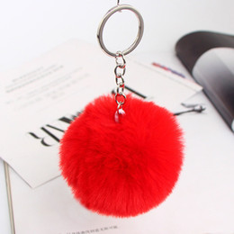 acrylic photo key chains Australia - Pompom Women Trinkets Leather Bow Rhinestone Keychain Charm Pompon Keyring Fluffy Faux Rabbit Fur Ball Key Chains For Car Bag