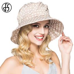 $enCountryForm.capitalKeyWord Australia - Fs Fashion Summer Wide Brim Cotton Bucket Hat For Women Polka Dot Foldable Sun Hats Casual Lady Floppy Uv Beach Visors Cap Y19052004