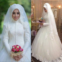 Wholesale Arabic Bridal Gowns Islamic Long Sleeve Muslim Wedding Dresses Ball Gown Lace Wedding Dress Custom Made