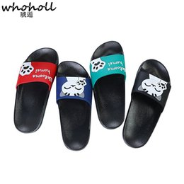 e74e57bf8bd922 WHOHOLL Summer Slides Women Slippers Cartoon Cat Slippers Women Flat Sandals  Home Bathroom Outside Beach Flip Flops Ladies Shoes