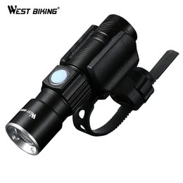 usb rechargeable flashlight cree led NZ - WEST BIKING Bike Light Ultra-Bright Stretch Zoom CREE Q5 200m Bicycle Front LED Flashlight Lamp USB Rechargeable Cycling Light C18122601