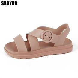 299385638f0f Jelly Shoes Summer Roma women sandals New open toe Casual shoes woman Flat  outdoor Beach slippers ladies Buckle Slide A159