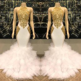 Gold layered prom dress online shopping - 2019 Halter Gold Lace Applique Mermaid Long Prom Dresses Layered Ruffles Sweep Train Evening Gowns Vestidos De Festa
