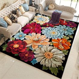 kitchen rugs blue Australia - 3D Floral Printed Large Home Carpets for Living Room Bedroom Area Rug Anti Slip Flowers Carpet for Kitchen Floor Mat Home Decor
