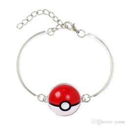 Pikachu Charm Australia - Hot!5pcs Different Design Pikachu Jewelry with Silver Plated Glass Cabochon Ball Pattern Anime Charm Bracelet&Bangles for Women Children