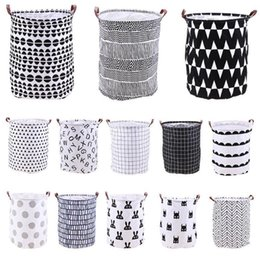 Folded Laundry Basket Canada - Home Folding Laundry Basket Cartoon Storage Barrel Standing Toys Clothing Storage Bucket Laundry Organizer Holder Pouch TTA782