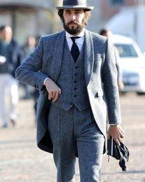 Custom Tweed Suit Australia - XLY 2019 Smoking Grey Tweed Men Suit Slim Fit 3 Pieces Fashion Latest Coat Pant Designs Custom Made Tuxedo Groom Masculino Suits Blazer