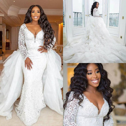 $enCountryForm.capitalKeyWord Australia - Plus Size African Wedding Dresses With Detachable Train 2019 Luxury Lace Applique Long Sleeve Princess Bridal Wedding Gown