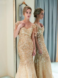 glitter store NZ - New European gold gilt sequins Mermaid evening dress   hot gold glitter V-Neck Off-Shoulder Prom Dress into the store to choose more styles
