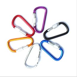 Climbing Hook Keychain Australia - 5 6 7cm diameter Colorful Aluminum Alloy D Styles Climbing Button With Lock Carabiner Keychain Hanging Hook Camping Backpacking Buckle