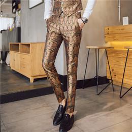 Show caSual dreSS faShion online shopping - Men s Fashion Green Print Slim Pants Dress Pants Slim Nightclub Male Singer Personality Stage Show Trousers Business Suit Pants