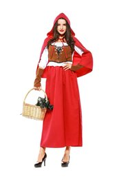 $enCountryForm.capitalKeyWord UK - Classic Little Red Riding Hood Theme Costume Grimm's Fairy Tales Uniform Long Design Adult Europe Medieval Renaissance Fancy Dress
