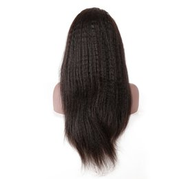 Kinky Straight Hair For UK - New Arrival Natural Color Brazilian Kinky Straight Wig 12-26 Inch 150 Density 100% Remy Human Hair Lace Front Wig For Black Women 1pc