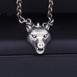 wolf head necklaces 2021 - Vintage 925 Sterling Silver Necklace Men's Anger Forest Series Wolf Head Pendant Necklace Wild AJ Men and women couples necklace