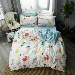 $enCountryForm.capitalKeyWord Australia - White dinosaur Bedding Set Soft Quilt Cover Pillowcase Soft bed sets twin full queen king duvet cover cartoon kids bedclothes