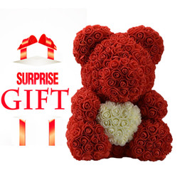 mothers day bears 2020 - DropShipping 40cm Red Teddy Rose Bear With Love Heart Artificial Flower Decoration Valentines Day Gift Womens Mother Day