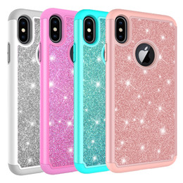 Wholesale For iPhone Xs Max Case Women Luxury Glitter Shiny Bling Hybrid Soft TPU Hard PC Back Cover Phone Case for Iphone Xr