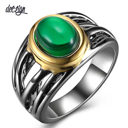 $enCountryForm.capitalKeyWord Australia - Deczign Must Have Jewelry Solitaire Ring for Women Oval Green Zirconia Gun and Gold Color Lead Free Metal WA11547