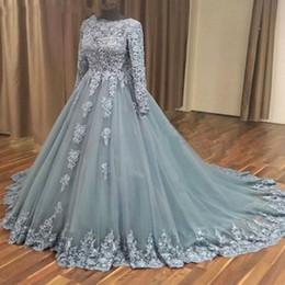caf996b43bd Elegant Ball Gown Muslim Wedding Dress with Long Sleeves Lace Appliques Bridal  Gowns Islamic Saudi Arabia Grey Wedding Dresses