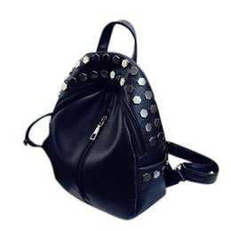 Jelly Backpack Style Australia - Stylish Woman Backpack Unique Rivet Backpacks PU Material and Smooth Zipper Fashion Style Bags Women Backpack