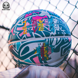 Helmet games online shopping - New Helmet Make Never give up Graffiti basketball size PU Free Style Streetball Indoor outdoor training game basketball ball