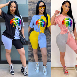 Wholesale color block t shirts online – design Women Color Block Patchwork Piece Outfits Rainbow Lips Printed Tracksuit T shirt Pullover Tops Shorts Sets Sport Suits D52207CZ