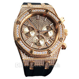 $enCountryForm.capitalKeyWord Australia - Diamond Watch Rose Gold Case Crystal Import Japan Quartz Watch Black Rubber Band Multifunction Men Wristwatch Woman Designer Luxury Watches