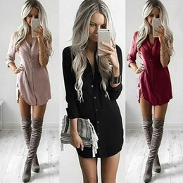 Summer Fashion Casual Newly Women manica lunga reversibile colletto monopetto solido camicia Slim vita alta Mini Dress 3 colori