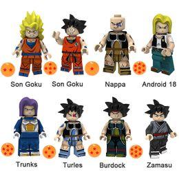 Dragon Figure Wholesale NZ - Dragon Ball Z Son Goku Nappa Android 18 Trunks Turles Burdock Zamasu Mini Action Figure Toy Building Block Bricks